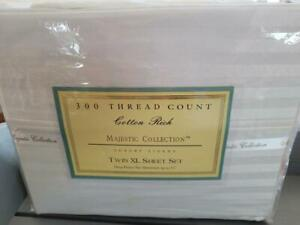 Majestic Collection 300-Thread-Count Cotton Poly Twin/Twin XL Sheet Set in IVORY
