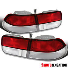 Fit 96-00 Honda Civic 2Dr Coupe Chrome Red/Clear Rear Tail Brake Lights