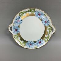 Bavaria Handled Plate Hand Painted & Numbered White Green Blue Gold Multi-color
