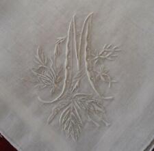 Vintage Madeira Wedding Hanky Monogram M Honeycomb Lace Embroidery Bridal
