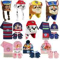Boys Girls Kids Official Paw Patrol Winter Hats / Hat Gloves And Scarf Sets