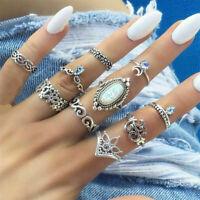 Boho Vintage Women Silver Elephant Turquoise Finger Rings Punk Ring Jewelry