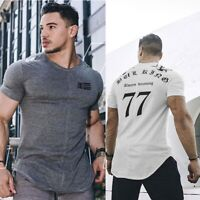 Gym King Mens T Shirt Fitness Bulking Longline Tee Designer Curved Workout Top S