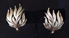 Vintage Signed TRIFARI Crown Goldtone Textured SEAWEED Shape Clip-On Earrings
