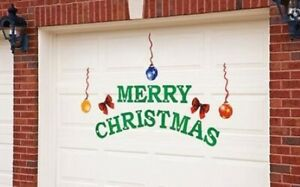 "Garage Door Christmas Magnet Mural Cover Reusable Decoration ""Merry Christmas"""