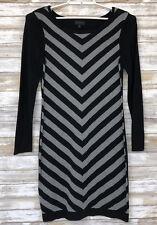Worthington Womens Sweater Dress Sz L L/S Black Gray Chevron Knee Length