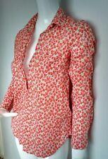 £ 79 J Crew Popover Camicia Taglia 4-Nuovo di zecca-Manica Lunga Stampa Flowerpatch Arancione