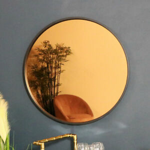 Round smoked copper glass wall mirror retro vintage modern wall art display