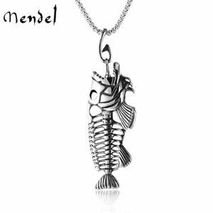 MENDEL Mens Fishing Fish Bone Skeleton Hook Necklace Pendant Stainless Steel Men