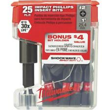 One Milwaukee 48 32 5009 25pc Magnetic Bit Holder With2 Impact Phillips Bits