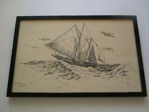 SMALL GEM ANTIQUE AMERICAN LANDSCAPE DRAWING GLOUCESTER 1930 FISHERMAN BOAT SHIP