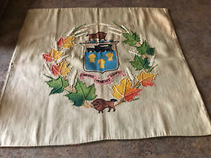 Vtg PILLOW COVER Winnipeg Canada Commerce  Prudence Industry  Bison 22 1/2 X 20