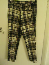 Topshop Black Grey & White Pattern Skinny Cigarette Trousers in Size 12 - NWT