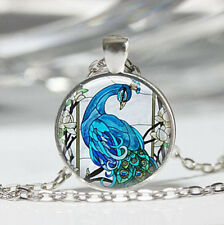 Vintage PEACOCK Cabochon Tibetan silver Glass Chain Pendant Necklace women New