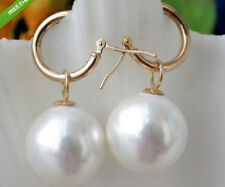 Perfect round AAA+ 15-16mm white South Sea Shell Pearl 14K Gold Earring       @
