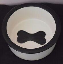 "Pottery Ceramic Dog Dish Black and Cream White Dog Bone Picture Inside 6.5"" NEW!"