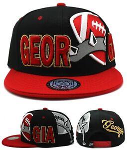 Georgia New Leader Sideway Dog Collar Bulldogs Black Red Era Snapback Hat Cap