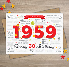 1959 HUSBAND Happy 60th Birthday Memories Birth Year Facts Greetings Card Red