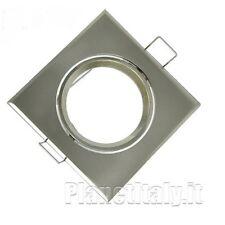 10pz portafaretto acciaio satinato foro 70mm faretto quadrato orientabile gu10