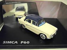 SIMCA ARONDE P60 crème toit bleu nuit au 1/43 Norev 576004 voiture miniature