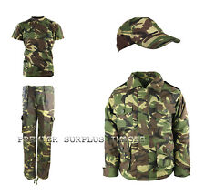 Kids Childrens Army Camo Clothing Set Trousers TShirt and Padded Jacket plus Cap