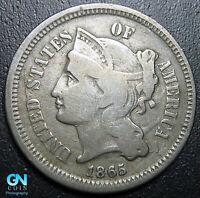 1865 3 Cent Nickel Piece  --  MAKE US AN OFFER!  #G7685