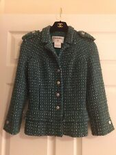 $3K Auth 06C CHANEL Green Boucle Jacket 34