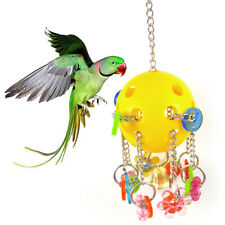 New listing Us_ Pets Bird Parrot Flower Shape Hollow Bell Balls Ring Hanging Chew Toy Cage D