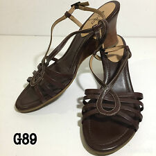 ecco Womens Shoes Heels Brown Real Leather Strappy Wedge  UK 6 EU 39