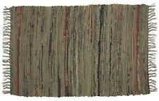 "Rag Throw Rug, 30"" x 50"", Khaki Green and Tan, Cotton, Ideal Rug for Dorm Room"
