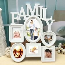 White Plastic Family Photo Frame Wall Hanging Picture Holder Display Home Decor