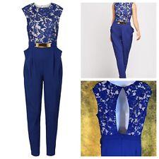 BODY FLIRT BOUTIQUE Ladies Blue Jumpsuit Size L 16/18 Stretchy Lace Top  *NEW*