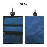 Golf Pouch Bag Multi Pocket Clip Zipper Hook to Bag Valuables Holder Blue US