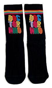 Ladies Doctor Who Dr Who Rainbow Black Logo Socks 4-8 UK/37-42 Eur/6-10 US