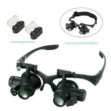 10X 15X 20X 25X Eye Jewelry Watch Repair Magnifier Glasses w/ 2LED Lights Loupe