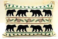 """BALSAM FIR PILLOW 5""""x 5"""" BEAR PARADE embroidered sachet scented lodge black bear"""