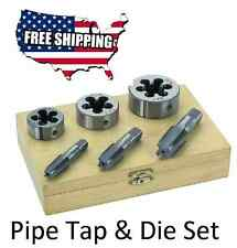 "6 PC 1/4"" 3/8"" 1/2"" INCH HIGH CARBON STEEL PIPE TAP & AND DIE SET FREE SHIPPING"