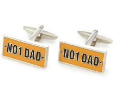Number 1 Dad Fathers Cufflinks Day Gift Prize Best Dad No Yellow License Plate