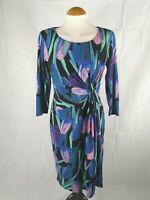 Ladies Dress Size 10 PRECIS PETITE Blue Ruched Stretch Party Evening Wedding