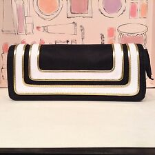 MAC MAKEUP BAG! :) Stroke of Midnight NAVY/WHITE/GOLD Flap Closure Clutch Style!