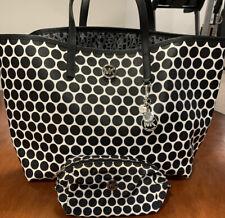 Michael Kors Saffiano White Black Polka Dot Tote Bag