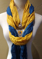 The Ultimate Golden State Warriors  Licensed Pendant Jewelry Scarf Combo