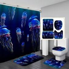 1/3/4pcs Ocean Sea Jellyfish Waterproof Shower Curtain Toilet Rug Bathroom Set