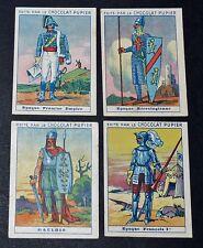 4 CHROMOS IMAGES COSTUMES MILITAIRES SERIE 13 CHOCOLAT PUPIER JOLIES IMAGES 1930