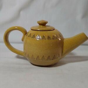 Handmade Signed Pottery Yellow Triangular Pattern Glazed Teapot