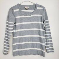 Ann Taylor LOFT Women's Sweater Pullover Size S Gray White Striped Knit