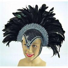 Black Jewel Feather Helmet With Plume - Fancy Dress Carnival Accessory