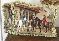 Sale! Pair Superb Handmade Wool Needlepoint Petit Point Horse and Rider Pillow