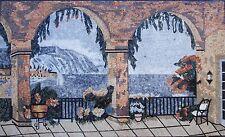 "60"" Handmade Natural Scene Tuscan Mosaic Marble Landscape Mural Art Stone Decore"
