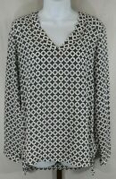 Pleione Womens Ladies Black White Long Sleeve Tunic Top Blouse Size Small